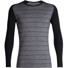Icebreaker 200 Oasis Deluxe Raglan LS Crew Shirt Men Gritstone Heather/Black/Stripe